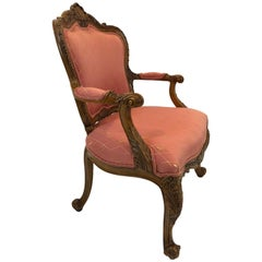 Regal Louis XVI Style Girard Emilia Hand Carved Italian Armchair