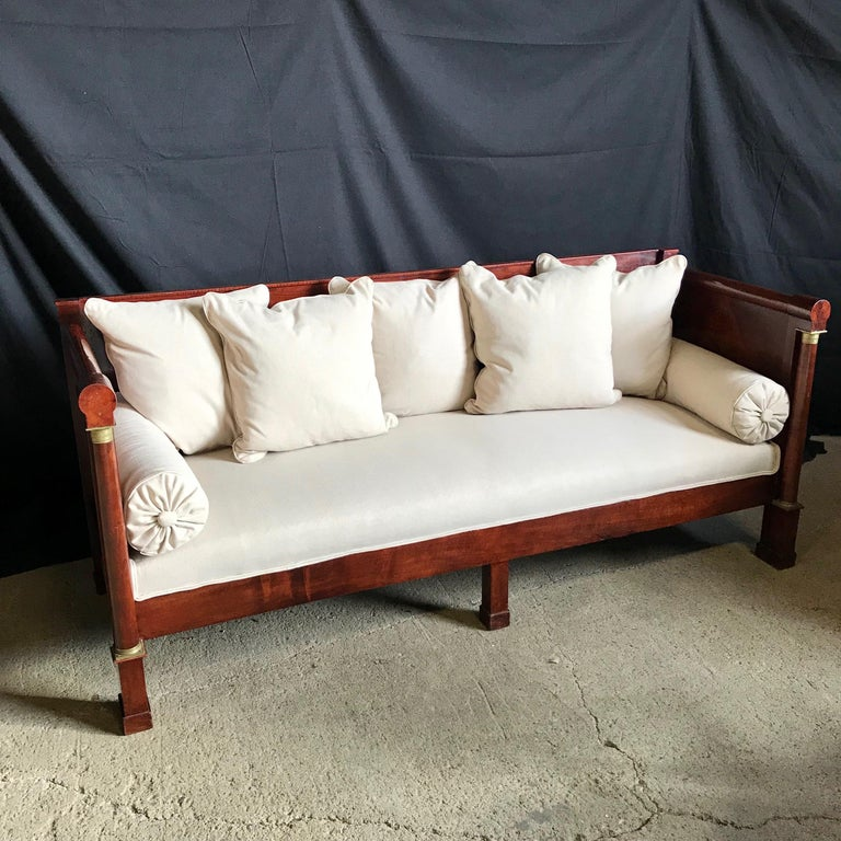 19th Century Regal Mahogany Empire Style French Antique Daybed For Sale