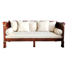 Regal Mahogany Empire Style French Antique Daybed