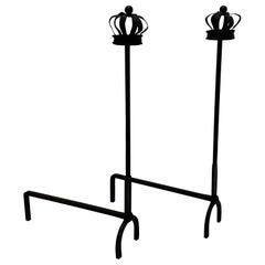 Regal Pair of Black Cast Iron Crown Motife Andirons