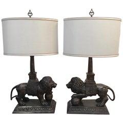 Regal Pair of Bronze Lion Motif Table Lamps