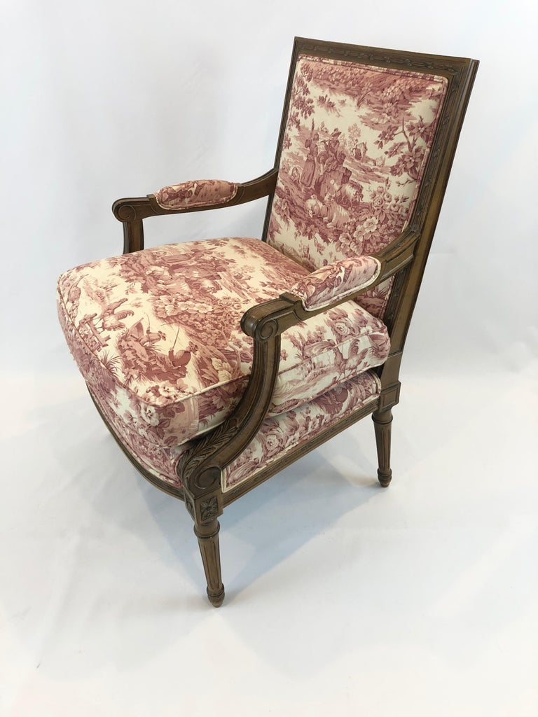 Regal Provencal Carved Fruitwood and Toile Upholstered ...
