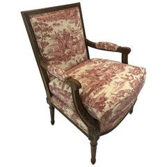 Regal Provencal Carved Fruitwood and Toile Upholstered Armchair