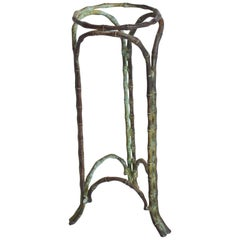 Regal Regency Faux Bamboo Pedestal Vase Stand Garden Planter in Bronze Verdigris