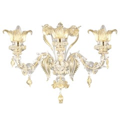 Rezzonico Wall 3 arms Crystal and Gold Murano Glass Regale by Multiforme