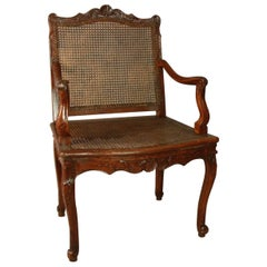Regence Carved and Caned Armchair or Fauteuil, circa 1720