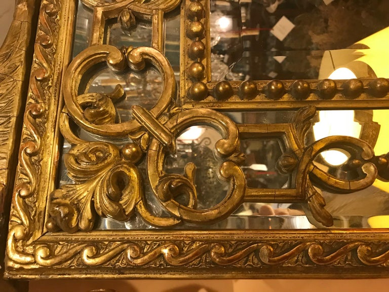 Louis XIV Regence Large Carved Giltwood Mirror  For Sale