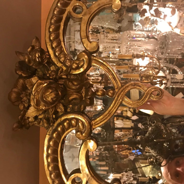 19th Century Regence Large Carved Giltwood Mirror  For Sale