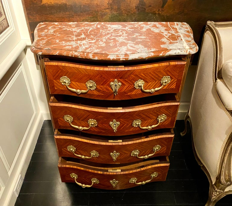 Regence Parquetry French Commode, Marble Top, 19th Century For Sale 7