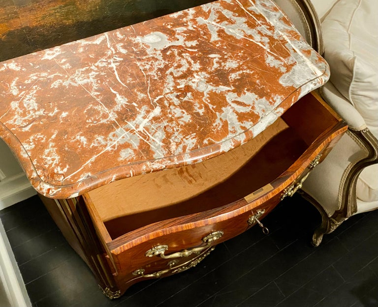 Regence Parquetry French Commode, Marble Top, 19th Century For Sale 9