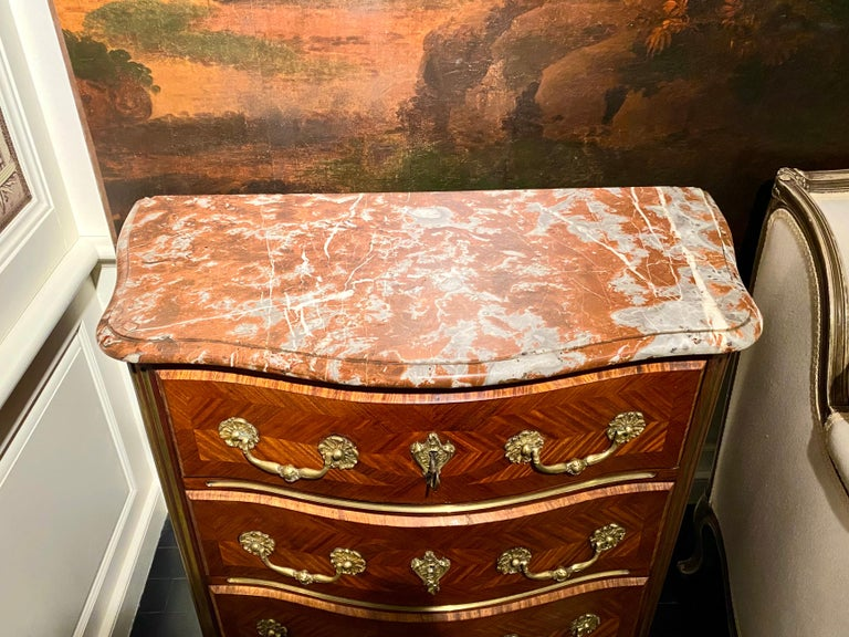 Regence Parquetry French Commode, Marble Top, 19th Century For Sale 5