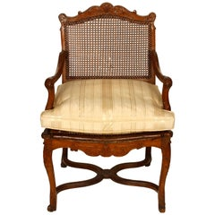 Regence Style Caned Fauteuil with Cushion
