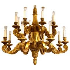 Regence Style Carved Giltwood Chandelier, 18 Lights