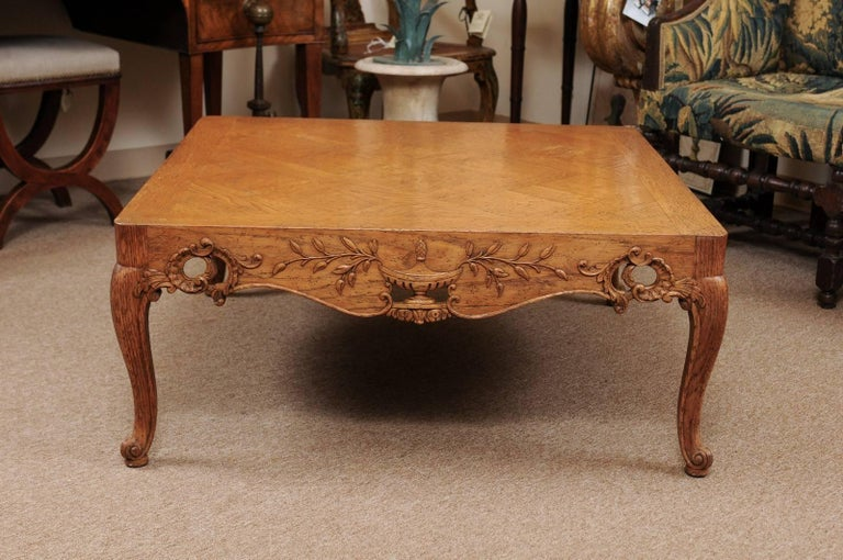 Regence Style Large Square Oak Coffee Table France At 1stdibs