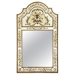 Règence Style Verre Églomisé and Gilt Mirror