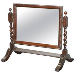 Regency 1815 Tabletop Cheval Mirror Original Plate Glass Barley Twist