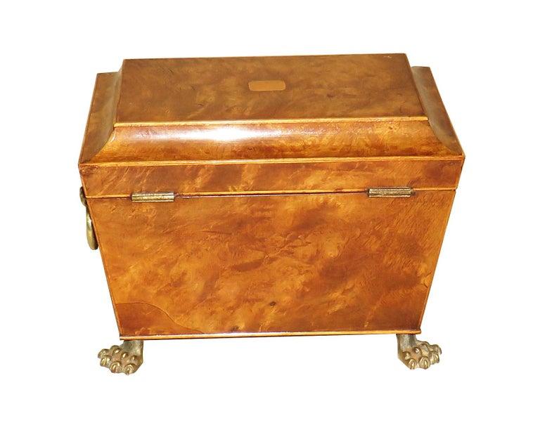 Regency 19th Century Burr Elm Sarcophagus Tea Caddy For Sale 2