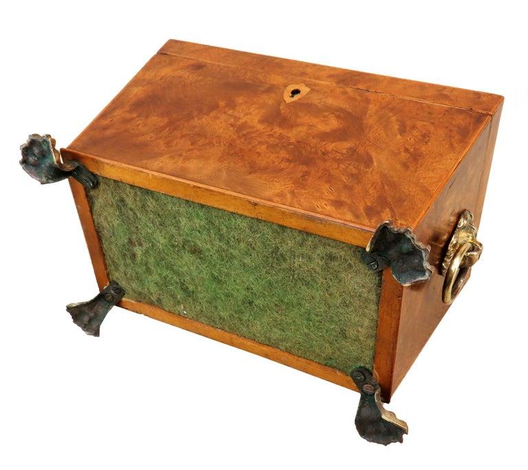 Regency 19th Century Burr Elm Sarcophagus Tea Caddy For Sale 3