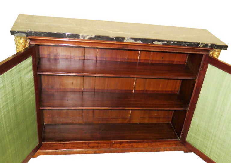 Marble Regency 19th Century English Mahogany and Parcel Gilt Side Cabinet For Sale