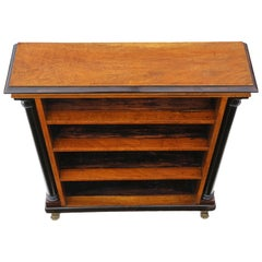 Regency 19th Century Satin Walnut Adjustable Bookcase