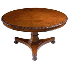 Regency Amboyna and Rosewood Circular Tilt-Top Breakfast Table by Gillows