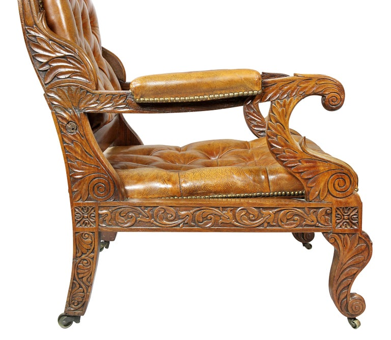 Regency Anglo Indian Rosewood Reclining Armchair For Sale 9