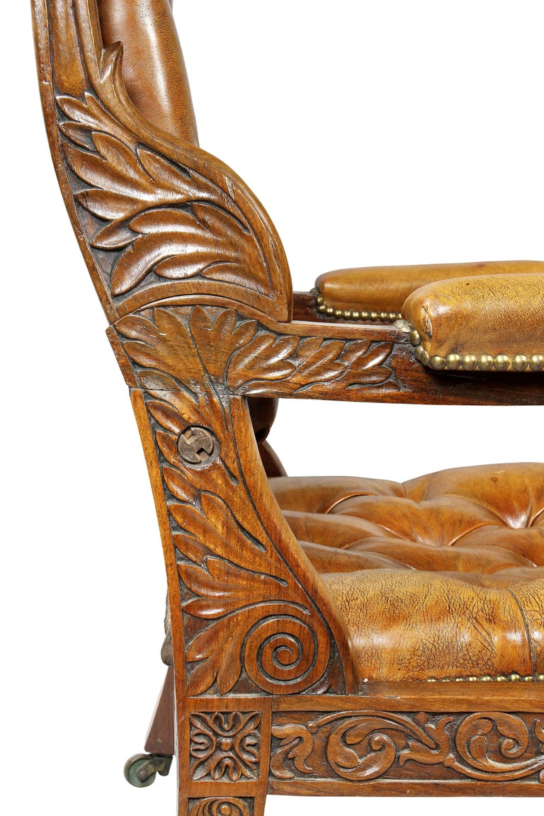 Regency Anglo Indian Rosewood Reclining Armchair For Sale 10