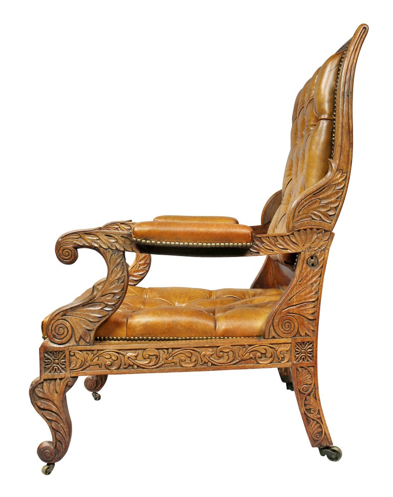 Regency Anglo Indian Rosewood Reclining Armchair For Sale 11