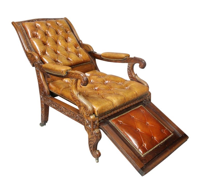 Regency Anglo Indian Rosewood Reclining Armchair In Good Condition For Sale In Essex, MA