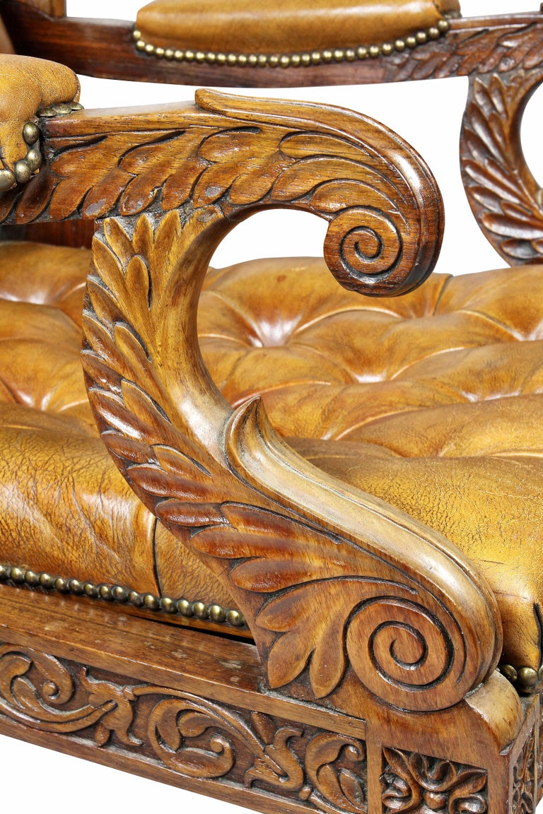 Regency Anglo Indian Rosewood Reclining Armchair For Sale 1