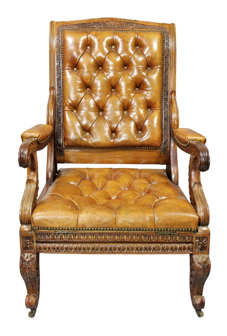 Regency Anglo Indian Rosewood Reclining Armchair For Sale 2