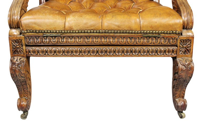 Regency Anglo Indian Rosewood Reclining Armchair For Sale 5
