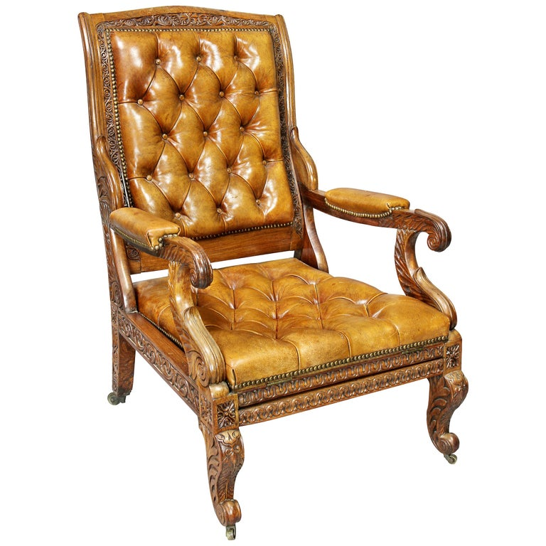 Regency Anglo Indian Rosewood Reclining Armchair For Sale