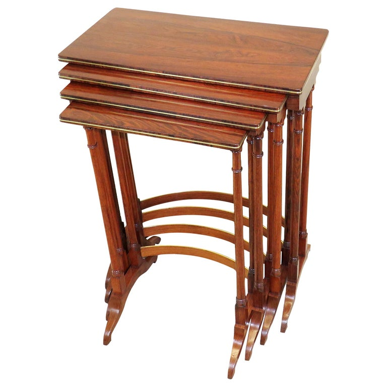 Regency Antique Rosewood Quartetto Nest of 4 Coffee Tables