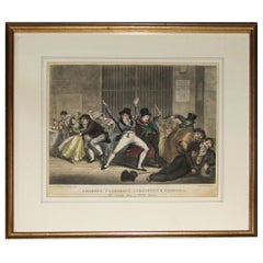 Regency aquatint print of partygoers by George Hunt.