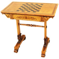 Regency Bird's-Eye Maple Wood Games Table