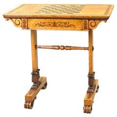 Regency Bird's-Eye Maple Wood Games Table