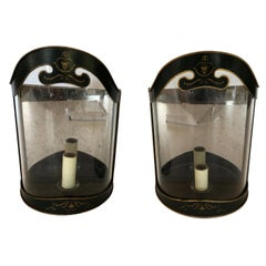 Regency Hunter Green and Gold Painted Tole Curved Lantern Sconces