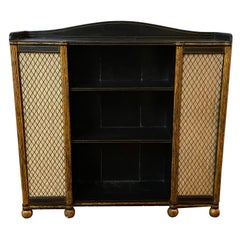 Regency Black and Gold Decorated Open Bookshelves with Silk Doors, 19th Century