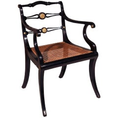 Regency Black Painted Klismos Armchair Desk Chair