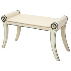 Regency Blue and White Painted Bench