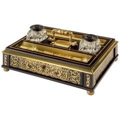 Regency Brass-Inlaid Ebony Desk Compendium