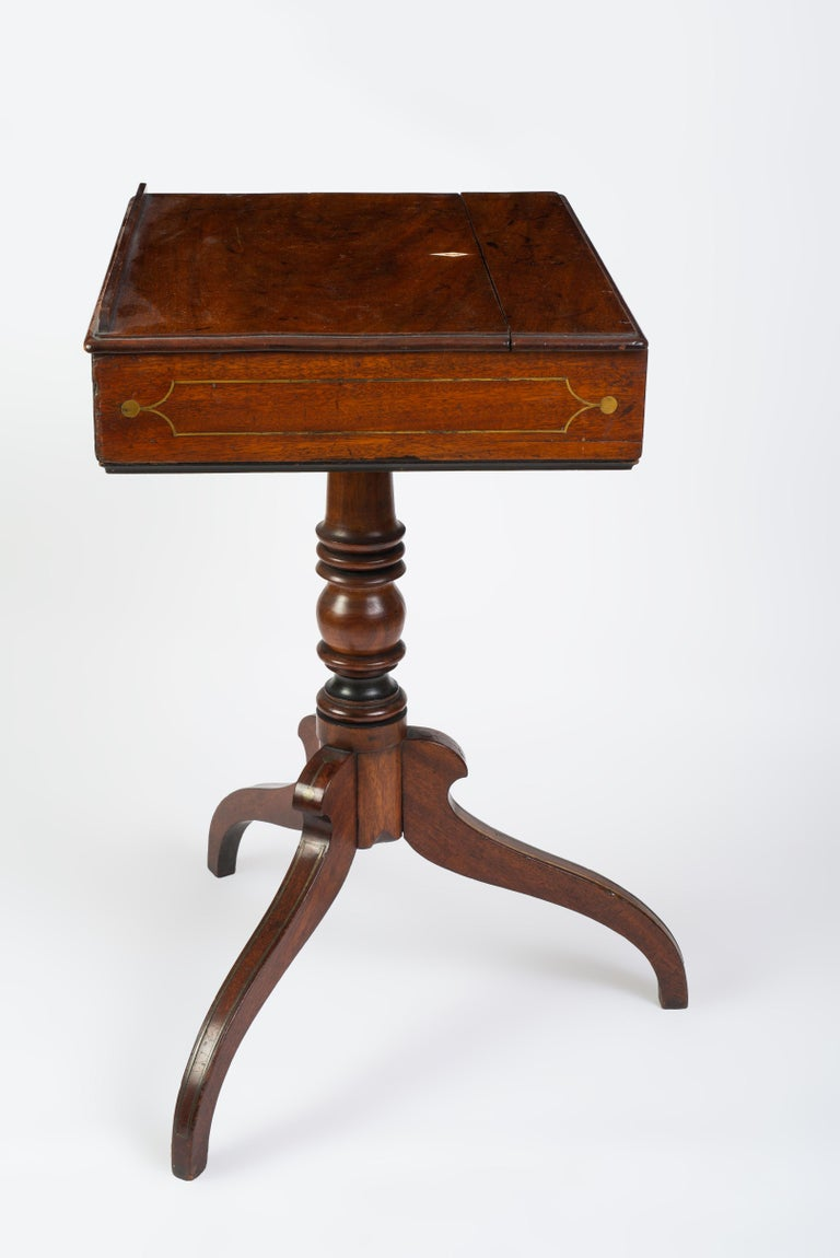 Regency Brass Inlaid Mahogany Reading Table For Sale 1