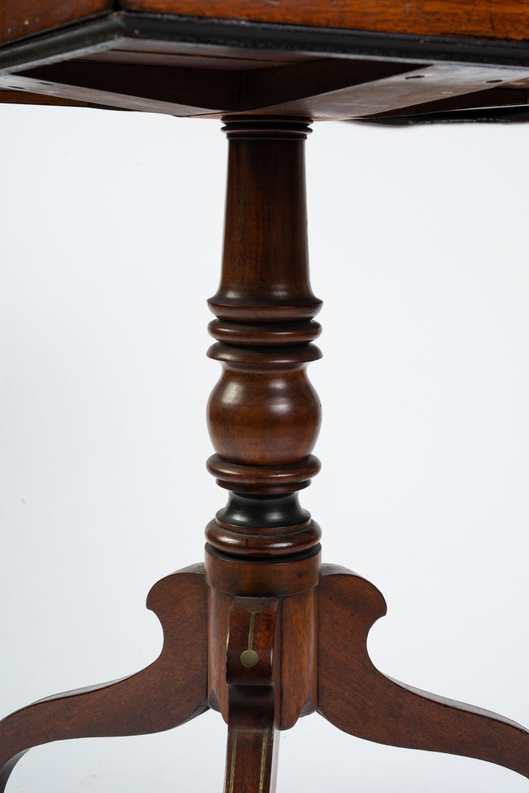 Regency Brass Inlaid Mahogany Reading Table For Sale 3
