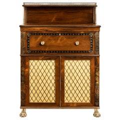 Regency Brass-Inlaid Rosewood Secretaire Cabinet