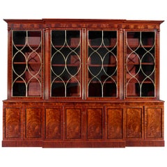 Regency Brass-Mounted Mahogany Breakfront Bookcase