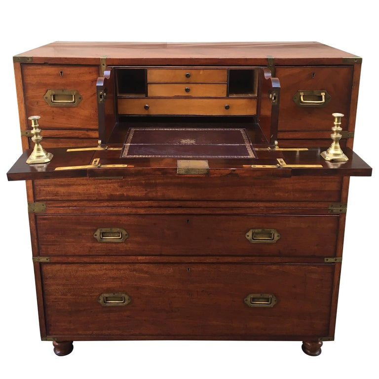 Two-part secretaire campaign chest, 1850, offered by David Skinner Antiques