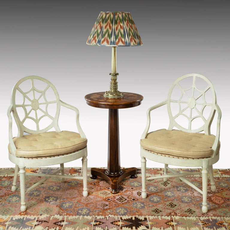 English Regency Brass Table Lamp with Ikat Shade For Sale