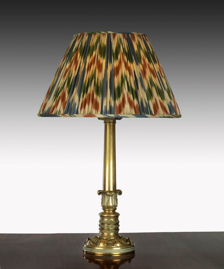 Regency Brass Table Lamp with Ikat Shade In Good Condition For Sale In London, GB