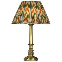 Regency Brass Table Lamp with Ikat Shade